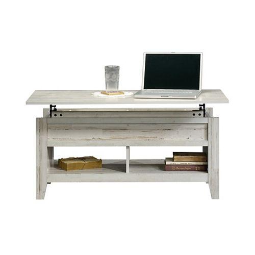 Sauder Dakota Pass Lift Top Coffee Table in White Plank