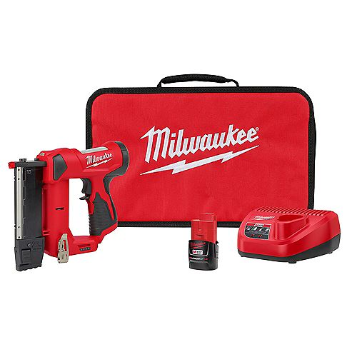Milwaukee Tool M12 12V 23-Gauge Lithium-Ion Cordless Pin Nailer Kit with 1.5 Ah Battery, Charger and Tool Bag