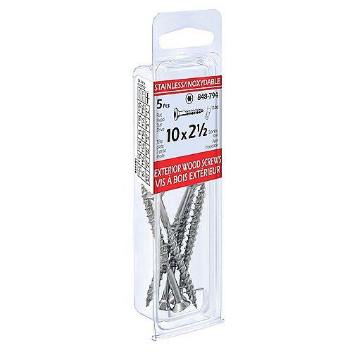 Stainless Steel Exterior Wood Screws 10 X 2-1/2, 5pcs