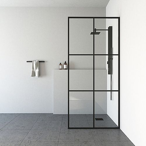Ventana 34-inch x 74-inch Fixed Frame Glass Shower Screen