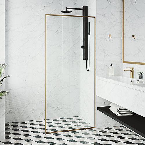VIGO 33-inch x 73-inch Framed Fixed Shower Screen in Matte Gold