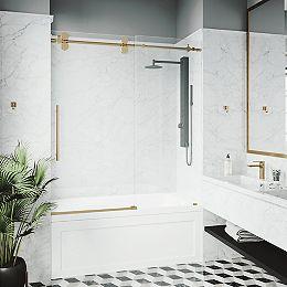 Elan 56 à 60 po. L x 66 po H Porte de baignoire coulissante sans cadre en or mat avec verre clair