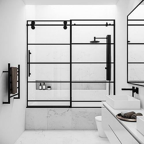 Elan 56 à 60 po. L x 66 po H Porte de baignoire coulissante sans cadre en noir mat avec verre clair et design de grille noire