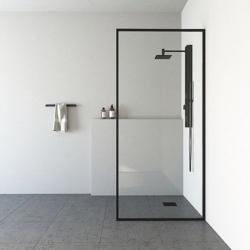 33-inch x 73-inch Frameless Fixed Shower Screen in Matte Black