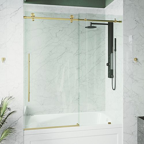 VIGO Elan E-class 60-inch x 66-inch Frameless Sliding Shower Door in Matte Gold with Clear Glass and Handle