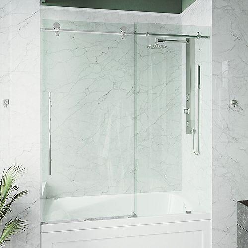 VIGO Elan E-class 60-inch x 66-inch Frameless Sliding Shower Door in Chrome with Clear Glass and Handle