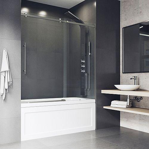 Luca 56 à 60 po. L x 58 po H Porte de baignoire coulissante sans cadre en acier inoxydable avec verre clair