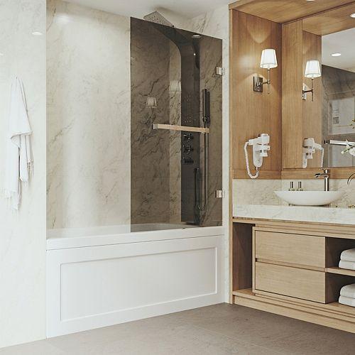 Rialto 34 po. L x 58 po H Porte de baignoire pivotante sans cadre en acier inoxydable avec verre teinté noir