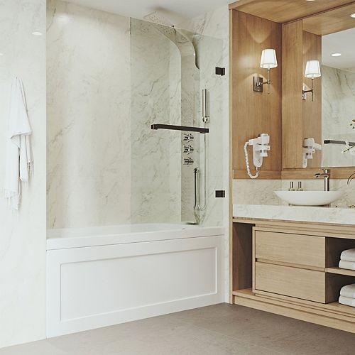 Rialto 34 po. L x 58 po H Porte de baignoire pivotante sans cadre en bronze brossé antique avec verre clair