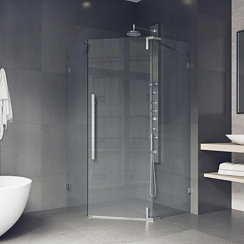 VIGO Frameless Neo-Angle Hinged Corner Shower Door 42-inch x 74-inch in Chrome with Handle