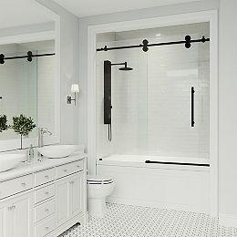 Elan 56 à 60 po. L x 66 po H Porte de baignoire coulissante sans cadre en noir mat avec verre clair