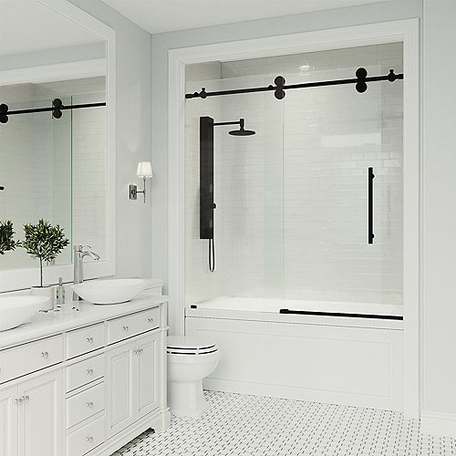Elan 60-inch x 66-inch Frameless Sliding Tub Door in Matte Black and Clear Glass
