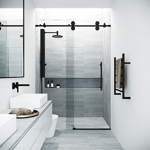 Elan 56 to 60 in. W x 74 in. H Sliding Frameless Shower Door in Matte Black with Clear Glass