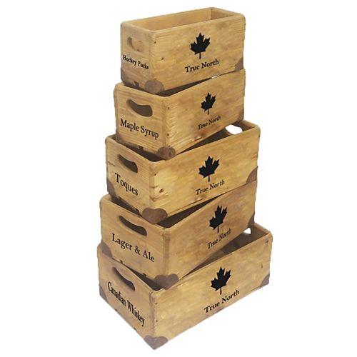 Wooden Canada Crates (Set of 5)