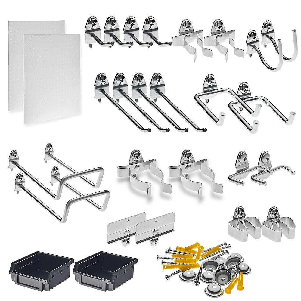 Triton DuraHook Wall Organizer (24 Hooks, 2 DuraBoards, 54 pc Mounting Kit, 4 pc Bin System)