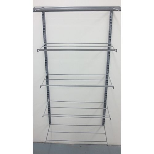"Triton (5) Tier Shoe and Boot Rack 14""D x 63""Hx 33""W avec Top Track and Hang Rail"