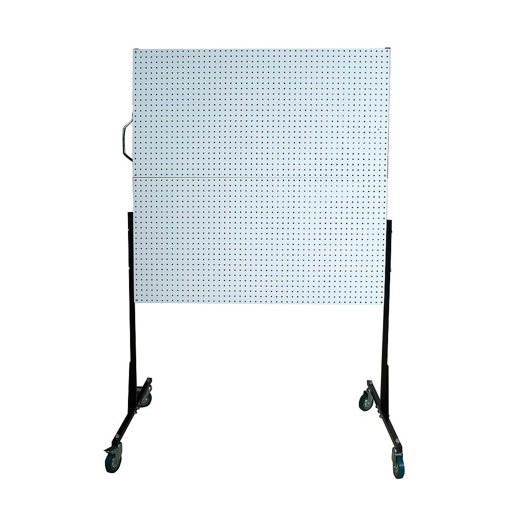Triton 50 In. W Mobile Stand-Alone Pegboard Unit with 4 White High Density Fiberboard Pegboards