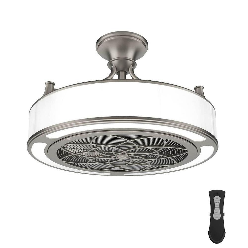 HOME DECORATORS COLLECTION 22 inch LED Indoor/Covered Outdoor Brushed Nickel Ceiling Fan