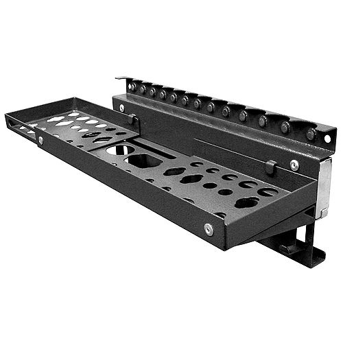 20 In. W x 5 In. D x 4.75 In. H Black Steel Magnetic Multi-Function Tool Holder