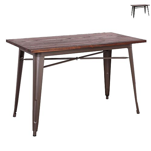 "Industrial style 29.5"" height rectangular dining table with elm wood top - Antique Espresso"