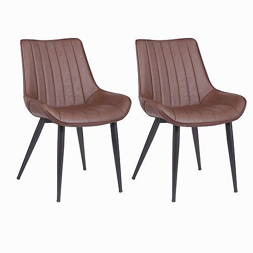 Dark Brown Leatherette Dining Chair with Mid-Backrest and Metal Legs - Set of 2