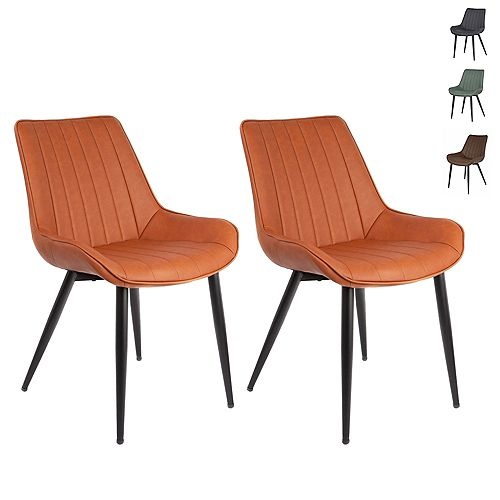 Caramel Brown Leatherette Dining Chair with Mid-Backrest and Metal Legs - Set of 2