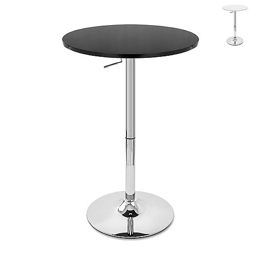 Bronte Living Rounded Top Bar Table with Adjustable Height and Swivel Design - Black - 1 Unit