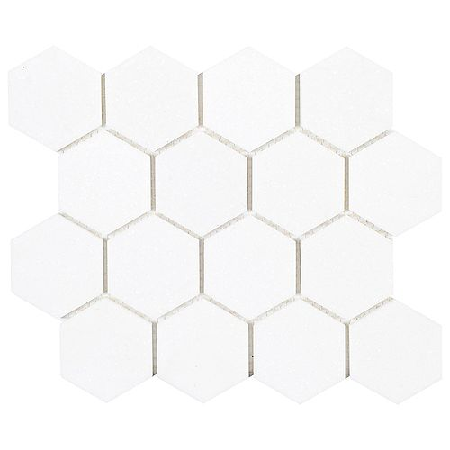 Dream Hex White 10.875 in. x 9.5 in. x 8 mm Honed Natural Stone Mosaic Floor and Wall Tile