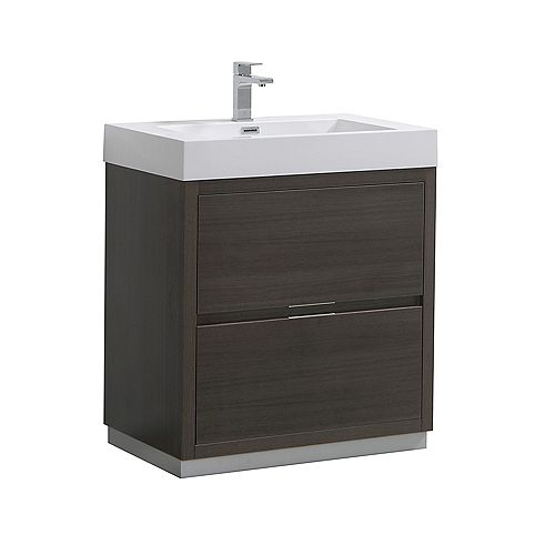 Fresca Valencia 30 inch Grey Oak Freestanding Modern Bathroom Vanity with Acrylic Top