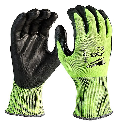 Milwaukee Tool Large High Visibility Level 4 Cut Resistant Polyurethane Dipped Work Gloves