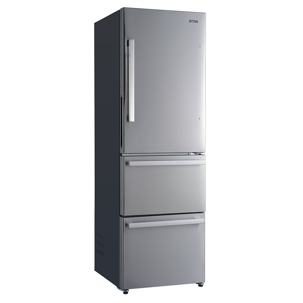 Galanz Galanz 24 3 Door Bottom Freezer Refrigerator, 12.4 cu.ft., Counter Depth, Stainless Steel