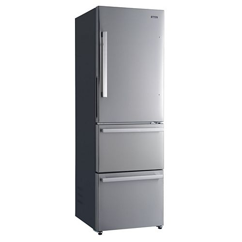 Galanz Galanz 24 3 Door Bottom Freezer Refrigerator, 12.4 cu.ft., Counter Depth, Stainless Steel