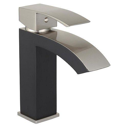 Marella 6 inch Single Hole Bathroom Sink Faucet - Matte Black/Brushed Nickel