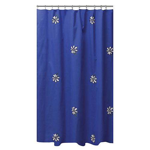 Gerber Daisy Shower Curtain 72 x 72 inch Multicolor Embroidered