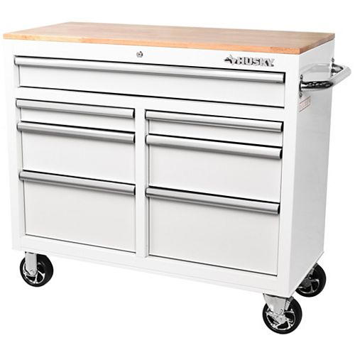 41 inch 7-Drawer Mobile Workbench with Solid Wood Top in White
