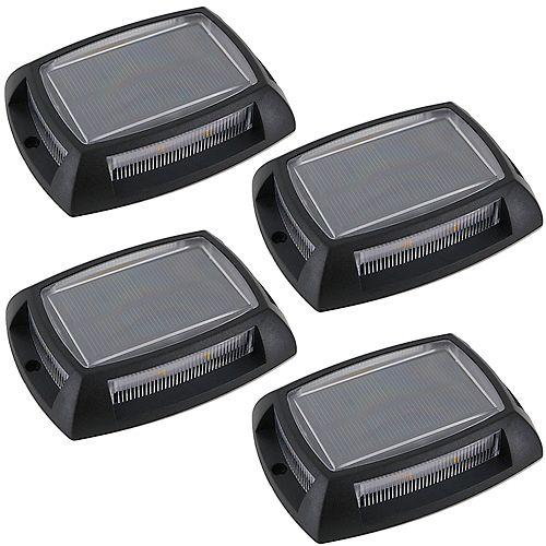 Black Solar LED Deck Lights (4-Pack)