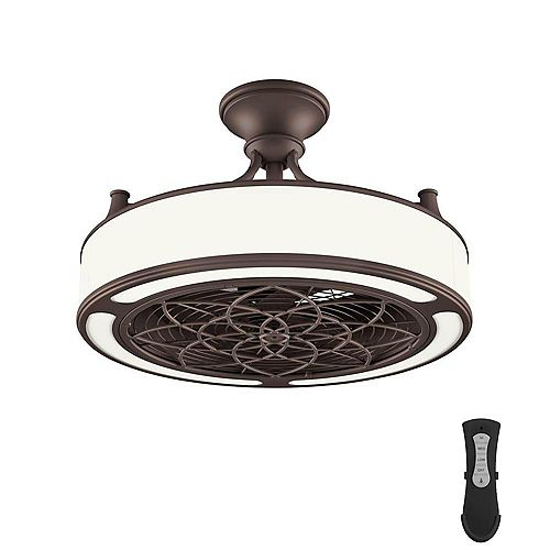 Windara 22-inch Indoor/Covered Outdoor Bronze Ceiling Fan with LED Light and Remote Control