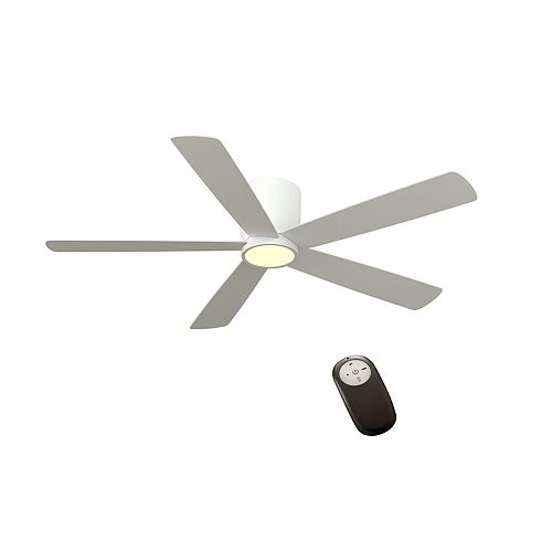 Britton 52-inch Matte White Ceiling Fan with LED Light and Remote Control