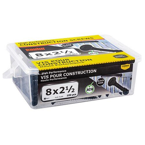 8X2-1/2 Black Flat Head Construction Screws - 100pcs