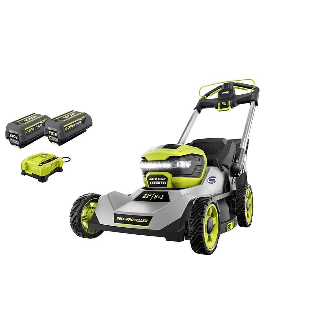 RYOBI 40V HP Brushless Cordless 21-inch Self-Propelled Walk-Behind Lawn Mower Kit with (2) 6.0 Ah Batteries and Charger