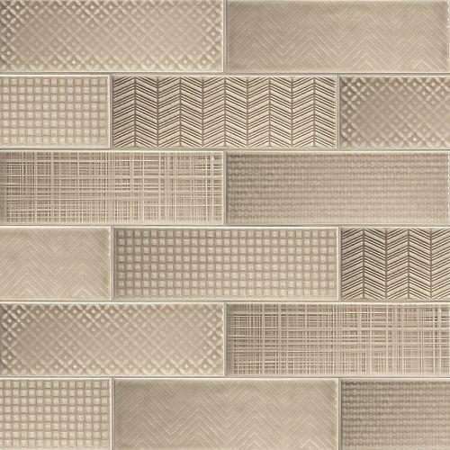 MSI Stone ULC Citylights Warm Concrete 3D 4-inch x 12-inch  Glazed Ceramic Wall Tile ( 9.9 sq.ft. / case )