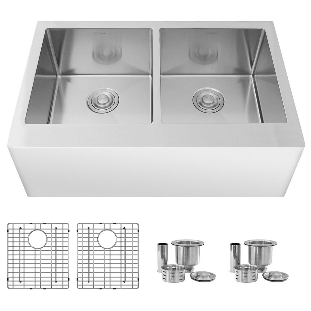 Stylish 33L x 21W-inch Undermount Double Bowl 16 Gauge Stainless Steel Kitchen Sink with Grids and Strainers