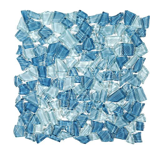 Carreau de mosaïque en verre brillant Seaglass Pebble 11,875 po x 11,875 po x 8 mm