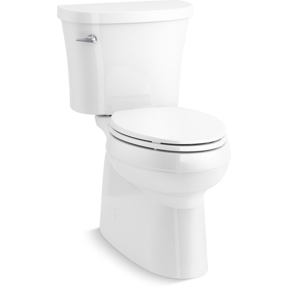 KOHLER Gleam 2-Piece Chair Height Elongated Skirted 1.28 GPF Single Flush Toilet in White with Slow Close Seat