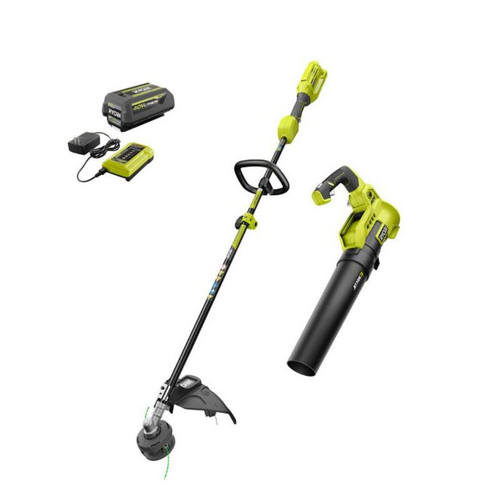 RYOBI 40V Cordless Attachment Capable String Trimmer and Blower Combo Kit with 4.0 Ah Battery and Charger