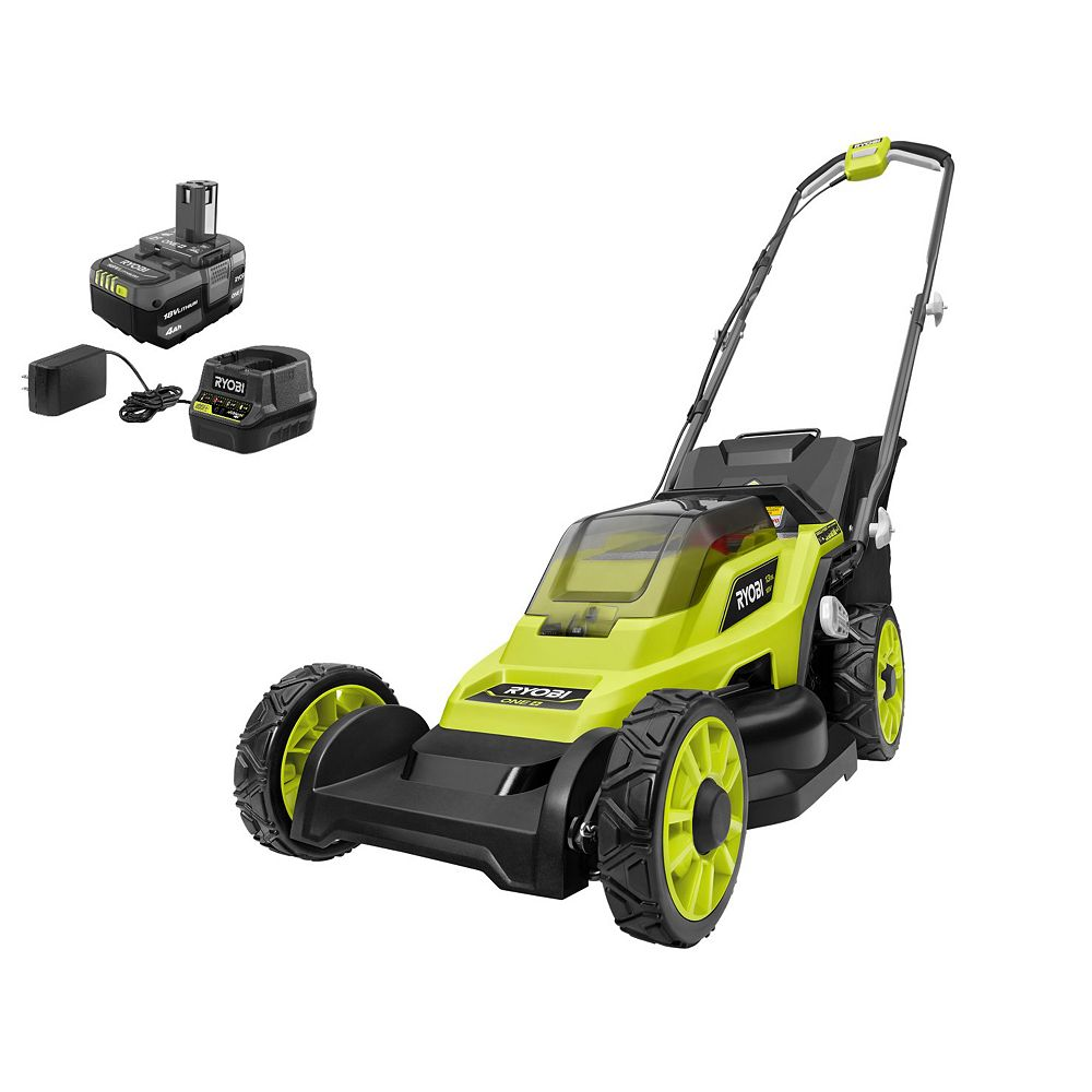 RYOBI 18V ONE+ Lithium-Ion Cordless 13-inch Walk Behind Push Lawn Mower Kit with 4.0 Ah Battery & Charger