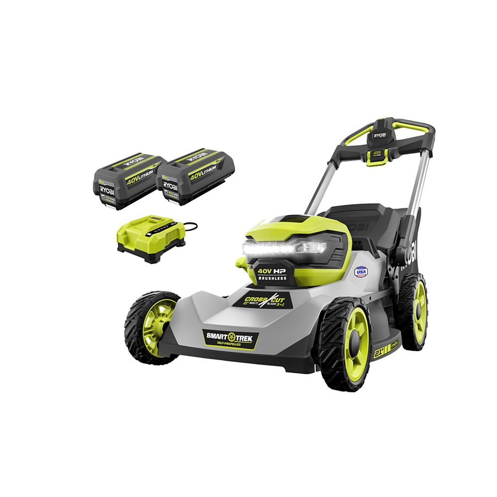 RYOBI 40V HP Brushless Cordless 21-inch Walk-Behind Dual-Blade Self-Propelled Lawn Mower Kit with (2) 6.0 AH Batteries and Charger
