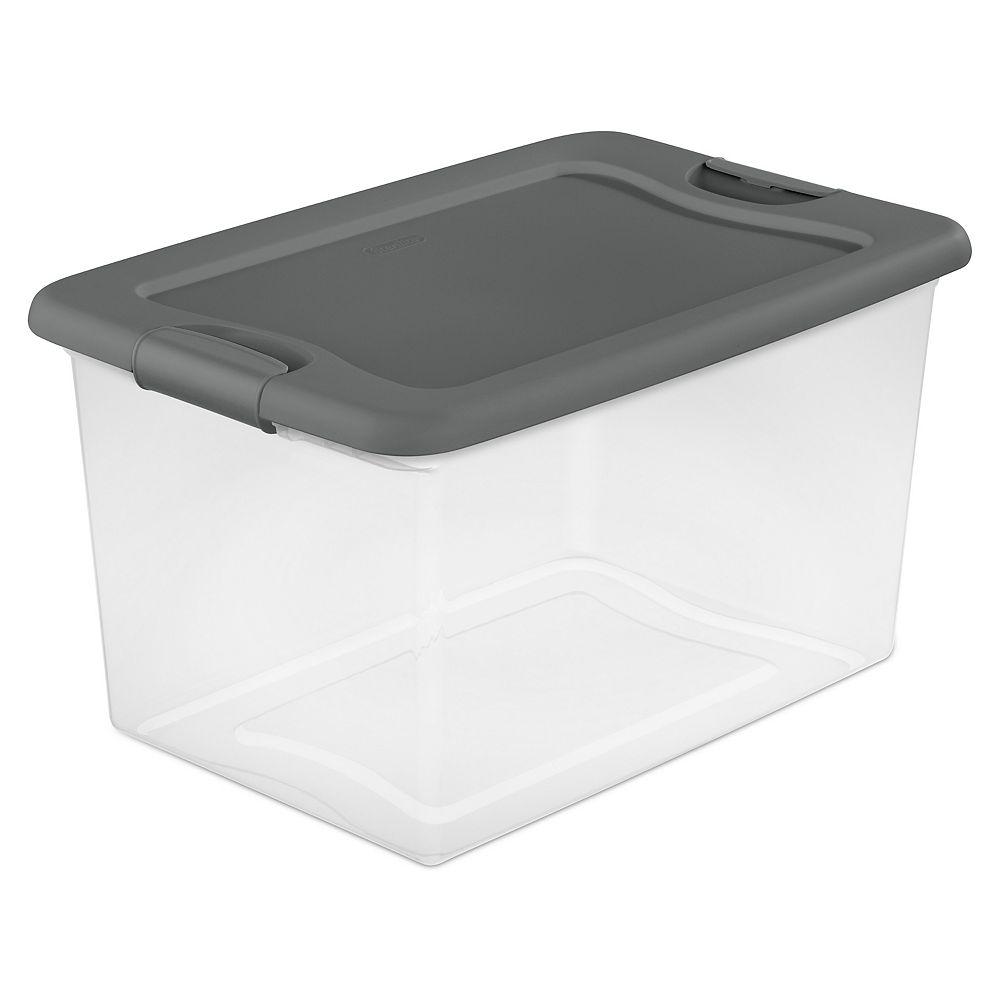 Sterilite 60L 23.75-inch L x 16-inch W x 13.5-inch H Latching Storage Box in Grey