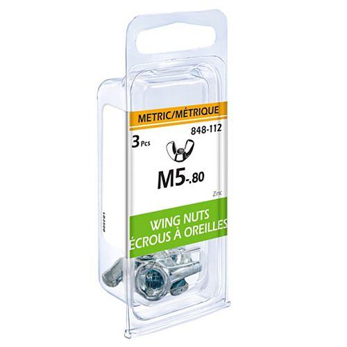 Écrous oreilles métrq M5-.80, 3mcx