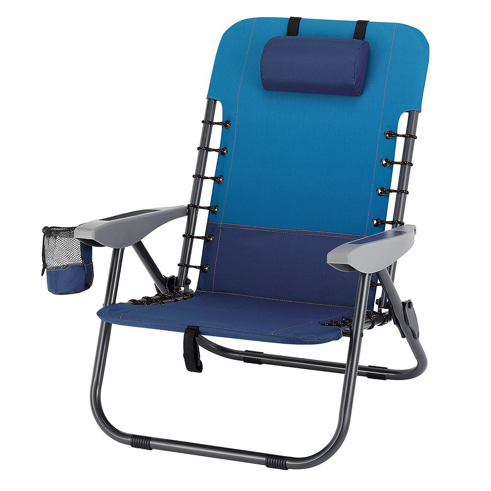 HDG Steel Lace-up Backpack Chair with Removable Backpack in Blue